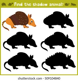 Educational games for children, cartoon for children of preschool age. Find the right shade for American Armadillo Armadillo. Vector