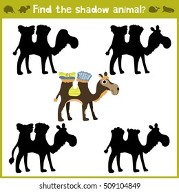 Educational games for children, cartoon for children of preschool age. Find the right shade for African camel. Vector