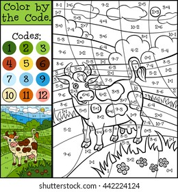 Educational games for kids. Color by the code. Cute cow on the field.