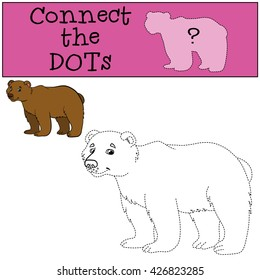 Educational games for kids: Connect the dots. Cute bear smiles.