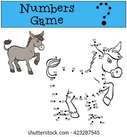 Educational games for kids: Numbers game. Little cute donkey stands and smiles.
