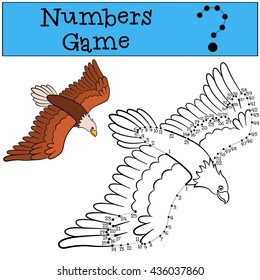 Educational games for kids: Numbers game with contour. Cute bald eagle flies and smiles.