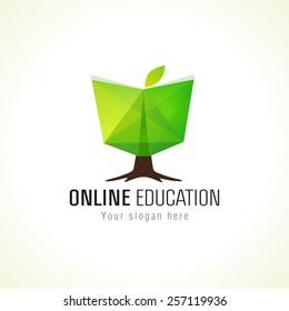 Educational green vector logo. Open book in a shape of growing tree. Internet network online school icon. Virtual i.q. courses branding identity.