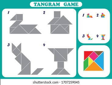 Educational logical game for kids, geometric shapes, worksheet activity, Development of children spatial thinking skills, Tangram set,