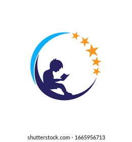 Educational logo design with children reading books on the moon and shining stars