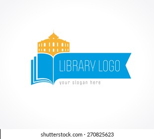 Educational logotype template. Learning, teaching, reading, training, publishing, studying colored template. Historic building. Abstract isolated colorful label pages shape blue gold coloured emblem.