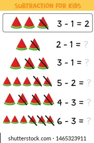 Educational math children game. Subtraction for kids.