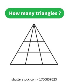 Educational math game. how many triangles? mathematical puzzle.