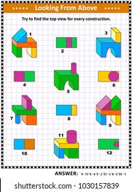 Educational math puzzle: Find the top view for each of the toy building blocks structures. Answer included.