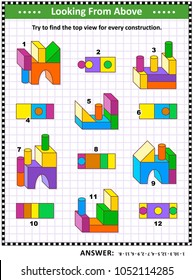Educational math puzzle: Find the top view for each of the toy building blocks constructions. Answer included.