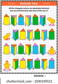 Educational math puzzle with triangular prisms: Find the back side view of the row 1. Answer included.