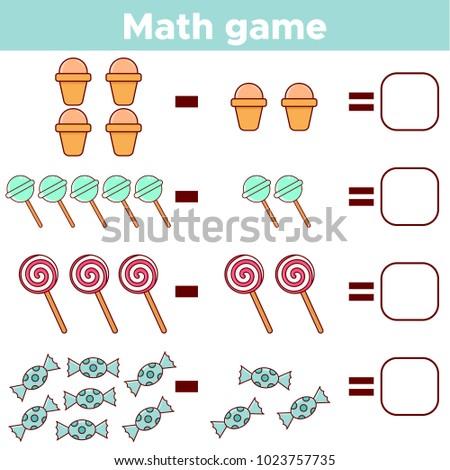 Educational Mathematical Game Preschool Kids Subtraction Stock
