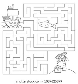 Educational maze game for children. Help the pirates ship find right way to the island with treasure chest, beware of shark! Coloring page. Vector illustration