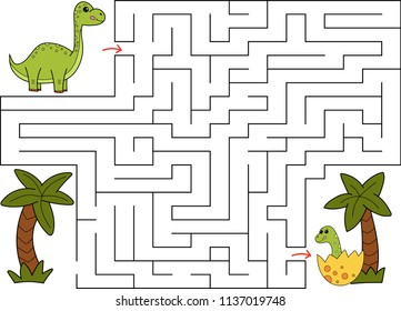 Educational maze game for children. Help Brachiosaurus find way to dinosaur baby. Hand drawn cartoon characters. Vector illustration