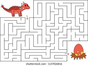 Educational maze game for preschool children. Help Ankylosaurus find way to the dinosaur egg. Hand drawn cartoon characters. Vector illustration
