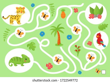 Educational maze game for preschool children. Help the chameleon collect all butterfly. Cute kawaii jungle animals and tropical plants. Activity worksheet. Learn count and write.
