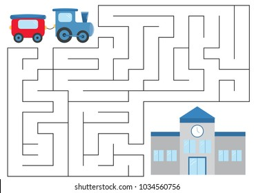 Educational maze game for preschool kids. Help the train find right way to railway station. Vector illustration.