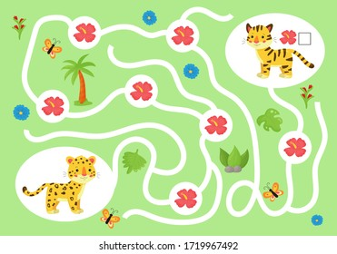 Educational maze game for preschool kids. Help the cheetah collect all tropical flowers for his friend tiger. Cute kawaii jungle animals. Count and write.
