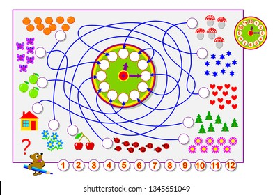 Educational page for children. Count the quantity of objects, draw numbers in circles and on the clock. Printable worksheet for kids. Worksheet for baby book. Developing counting skills. Vector image.