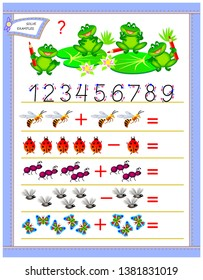 Educational page for children on addition and subtraction. Solve examples, count the quantity  and write numbers. Printable worksheet for kids textbook. Back to school. Vector cartoon image.