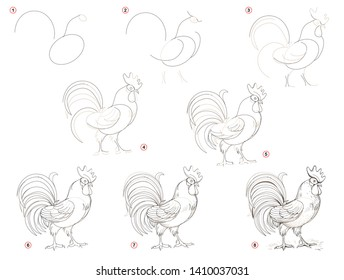 photograph relating to Rooster Template Printable known as Imágenes, fotos de inventory y vectores sobre Coloured Pencil