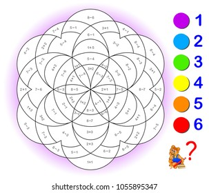 Educational page with exercises for children on addition and subtraction. Need to solve examples and to paint the image in relevant colors. Developing skills for counting. Vector image.