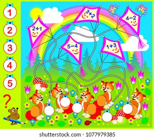 Educational page with exercises for children on addition and subtraction. Need to solve examples and write the numbers in relevant circles. Vector cartoon image.