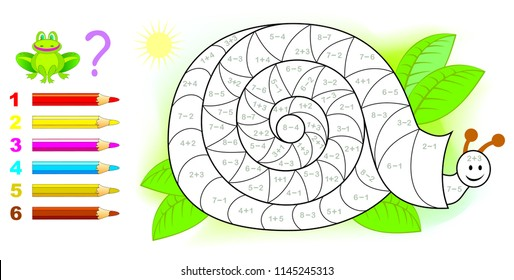 Educational page with exercises for children on addition and subtraction. Need to solve examples and to paint the snail in relevant colors. Developing skills for counting. Vector image.