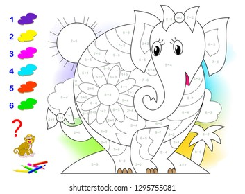 Educational page with exercises for children on addition and subtraction. Need to solve examples and to paint picture in relevant colors. Developing skills for counting. Vector image.