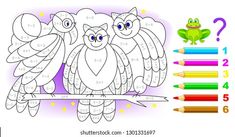 Educational page with exercises for children on addition and subtraction. Need to solve examples and paint the birds in relevant colors. Developing skills for counting. Vector image.