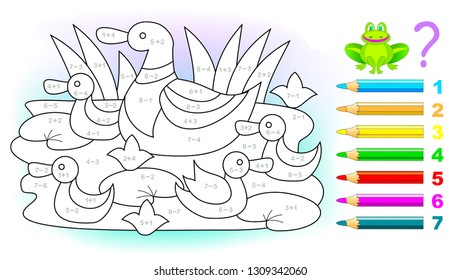 Educational page with exercises for children on addition and subtraction. Solve examples and paint the ducks family in relevant colors. Developing skills for counting. Printable worksheet for kids.