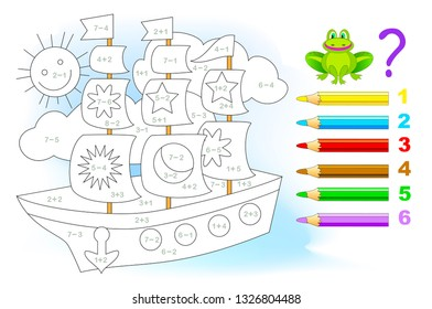 Educational page with exercises for children on addition and subtraction. Solve examples and paint the sailboat in relevant colors. Developing skills for counting. Printable worksheet for kids.