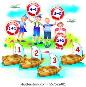 Educational page with exercises on addition and subtraction. Need to solve examples. On which boat will sail each child? Vector cartoon image.