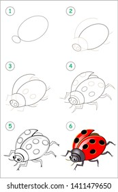 Educational page for kids. How to draw step by step an insect ladybird. Back to school. Developing children skills for drawing and coloring. Printable worksheet for baby book. Vector cartoon image.