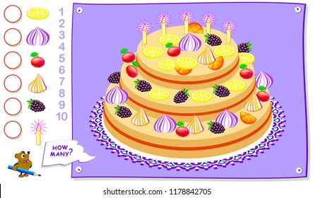 Educational page for kids. How many pieces of each object can you find in the birthday cake? Count the quantity and write the numbers in circles. Vector cartoon image.