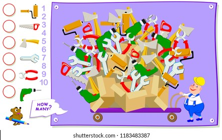 Educational page for kids. How many times of each tool the worker has bought? Count the quantity and write the numbers in circles. Vector cartoon image.