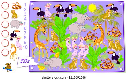 Educational page for kids. How many animals hide in the jungle? Count the quantity and write the numbers in circles. Vector cartoon image.