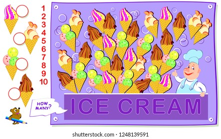 Educational page for kids. How many portions of each ice cream the cook had prepared? Count the quantity and write the numbers in circles. Vector cartoon image.