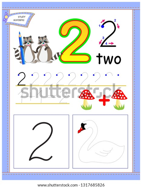 Educational Page Kids Number 2 Draw Stock Vector Royalty Free