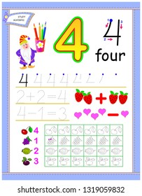 Educational page for kids with number 4. Count and paint corresponding quantity of fruits. Printable worksheet for children textbook. Developing counting and writing skills. Vector cartoon image.