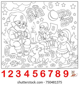 Educational page for young children. Find the numbers hidden in the picture and paint them. Logic puzzle game. Vector cartoon image.