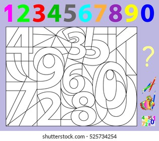 Educational page for young children.  Need to find the hidden numbers and paint them in relevant colors. Developing skills for counting and coloring. Vector image.