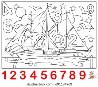 Educational Page For Young Children Need To Find The Numbers Hidden In Picture And