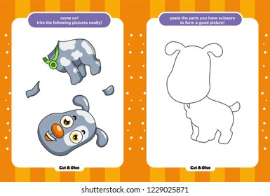Educational paper game for kids, Use scissors and glue and restore pictures, Simple child application with dogs, chickens, bears, crocodiles, giraffes, sheep, cats, lions, snails, mice.