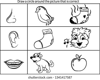 Educational picture of topic five senses for coloring and choosing correct picture. Vector illustration.