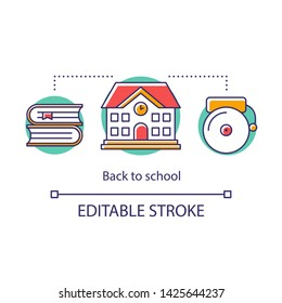 Educational process concept icon. Acquiring knowledge in school building. Lesson beginning, alarm bell. Basic education stage thin line illustration. Vector isolated outline drawing. Editable stroke