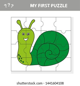 Educational puzzle game for children. Kids activity sheet with snail character, mosaic pieces