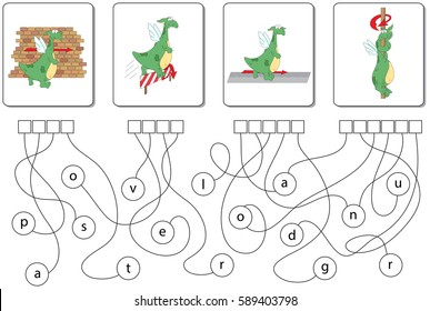 Educational Puzzle Game With Dragon For Kids Find The Hidden Prepositions Past Over
