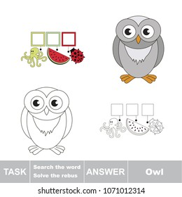 Educational puzzle game for kids. Find the hidden word funny Owl Bird