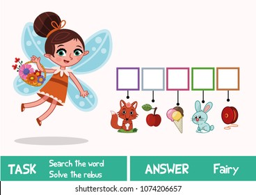 Educational puzzle game for kids. Find the hidden word Fairy. (Vector illustration)